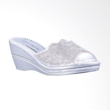 Clarette Cortney Sandal Wedges - Silver