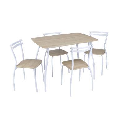 JYSK Dining Set Reeder Set Meja Makan - Beech White [120 x 80 x 76 cm]