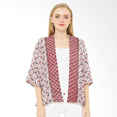 Anakara Bells Kimono Meraputi Outer Wanita - Red White