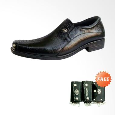 Crocodile Kulit Sepatu Pria - Black [A8]