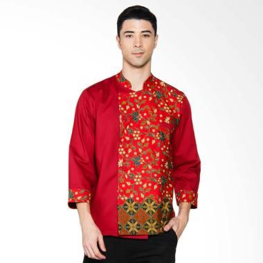 Chef Series Topaz Batik Tangan Panjang Baju Koki - Merah [Size L]