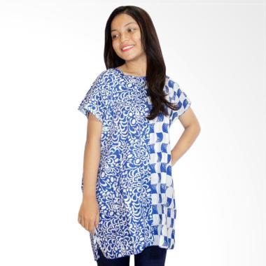 Batik Alhadi BPT001-23D Batik Blous ...  Baju Tidur Wanita - Biru