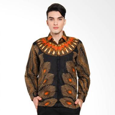 Batik Distro Merak Kemeja Pria - Hitam [K8101]