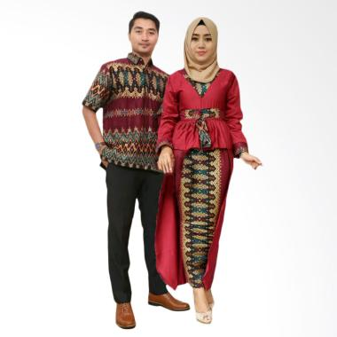 Weeka Butik Azkana Etnic Gradasi Baju Batik Couple - Red