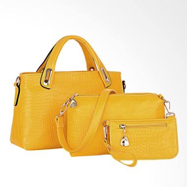 Lansdeal Purse Leather Women Bag Set - Yellow