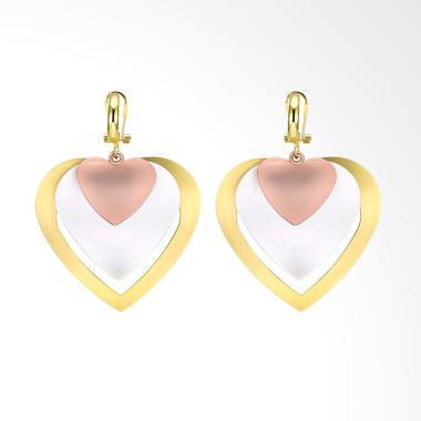SOXY KZCE198-A K Zircon Heart Shaped Romantic Ladies Earrings - Gold