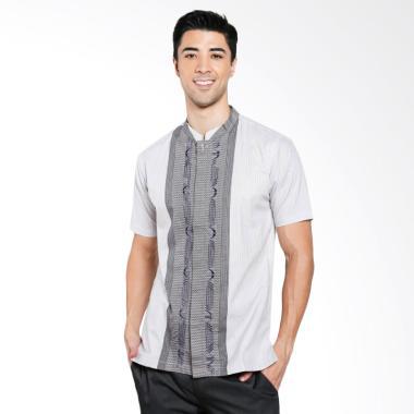 ISBAT Erin Collection Baju Koko Pria - Putih Kombinasi Abu-Abu