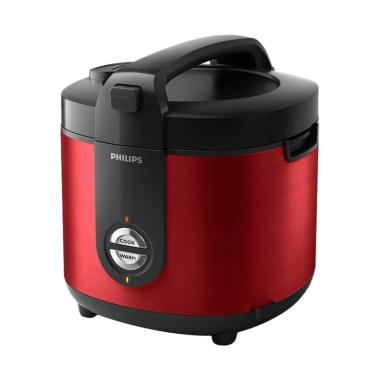 PHILIPS Rice Cooker Stainless 2L HD3132 - Merah