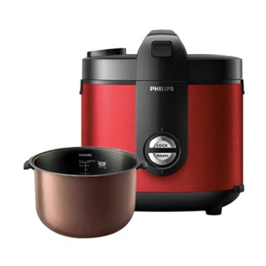 PHILIPS HD3132/32 Premium Plus Rice Cooker Magic com - Red [2 Liter]