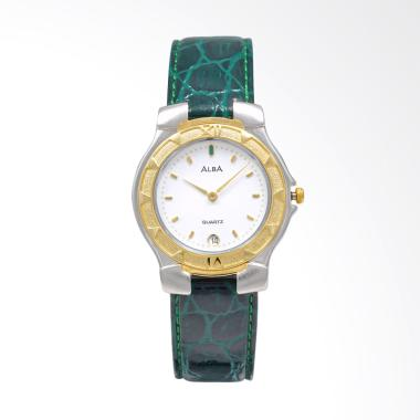 Alba Leather Strap Jam Tangan Pria - Green Silver Gold White [AXB08H]