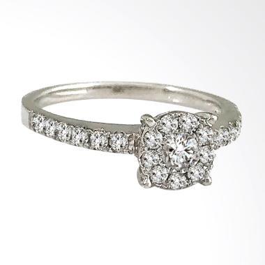 Lavish R17653 Berlian Premium Emas Putih Cincin [18 K]