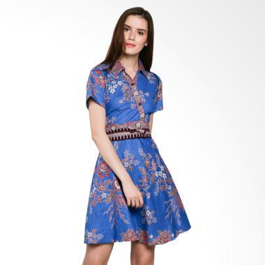 Koesoema Clothing Batik Jasmine Kimono Batik Dress + Obi - Blue