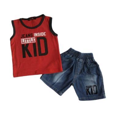 WISE-D SJ139 Setelan Kaos Jeans Bayi Laki-laki - Merah [0-