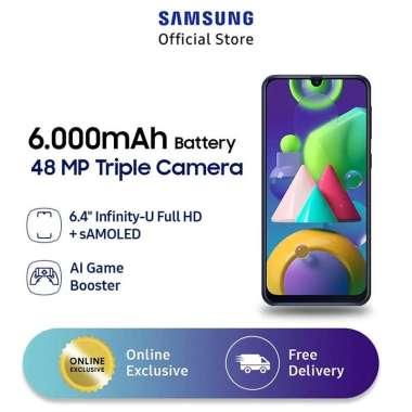 harga Samsung Galaxy M21 Smartphone [4 GB/ 64 GB] Free Star Wars Boba Fett 2 in 1 Micro USB & Type C Kabel Data - Blue Blibli.com