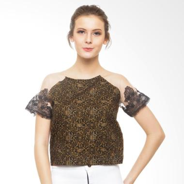 STEPH Batik with Hand Embroidery Blouse Wanita - Brown Black