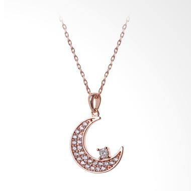 Cocoa Jewelry Crescent Moon Necklace - Rose Gold