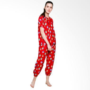 Jo & Nic Macaroon Pajama Setelan Piyama Wanita - Red