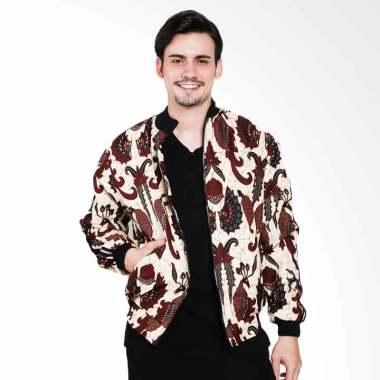 Batik Distro Panjang Strip Jaket Pria - Coklat [T1220]