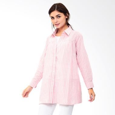 Mooimom Nursing Stripe Shirt Baju Atasan Hamil Menyusui - Pink