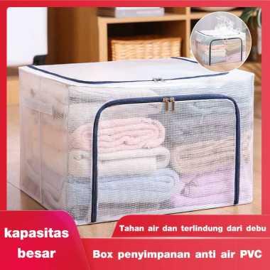 harga Box penyimpanan anti air PVC perabotan rumah tangga tembus pandang anti air dengan rangka baja berkapasitas besar dapat dilipat pakaian selimut Resleting navy-100L Blibli.com