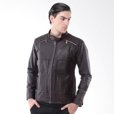 Alphawear Kulit Exclusive Style Jaket Pria - Brown