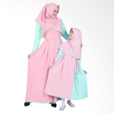 BajuYuli Baju Muslim Couple Gamis Ibu dan Anak - Mint Peach