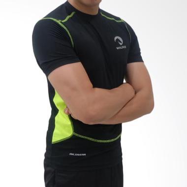 Waldos Sports Apparel Urban Baju Fitness Pria - Black Stabilo Green