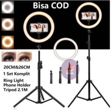 harga Ring Light Led 20cm26cm with HolderTripod 2.1M Vlog Live streaming - 20plusTripod2.1 Berkualitas Blibli.com