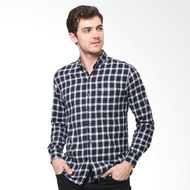 MENTLI Aldrich Flannel Shirt Kemeja Pria - Hitam