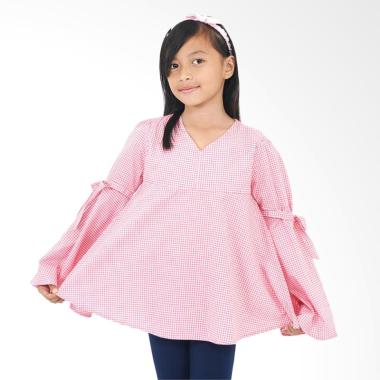 Kids Icon Checked Blouse Anak Perempuan With Bow Detail