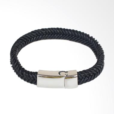 VERNYX Leather Twisted Slim Gelang Pria - Black [GLT698]