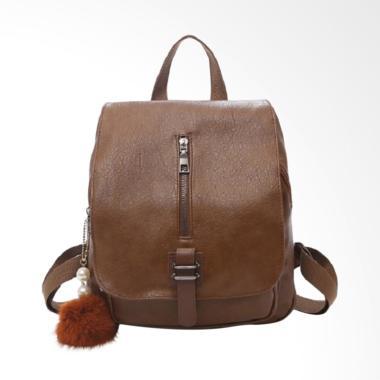 Fashion 0930020564 Gantungan Bulu Import Backpack Wanita - Brown