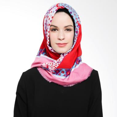 Ansania Saudia 04 Motif Polkadot Jilbab Segiempat - Blue Red