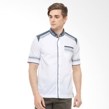 LGS Motif Bordir Slim Fit Baju Koko Pria - Putih
