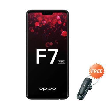 OPPO F7 Smartphone - Black [64GB/ 4GB] + Free Headset Bluetooth