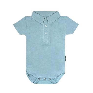 Abby Baby Palm Blue Polo Romper