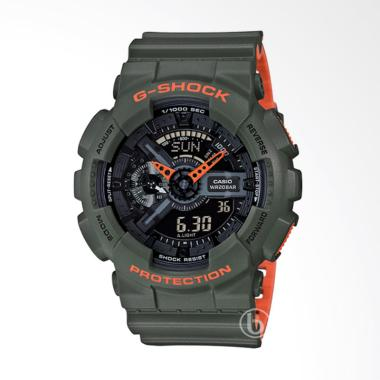 CASIO G-SHOCK Layered Neon Jam Tangan Pria - Army Green [GA-110LN-3A]