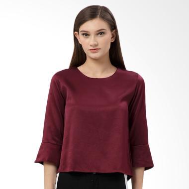 MKY Clothing Mid Bell Sleeve Simply Blouse Atasan Wanita -  Maroon