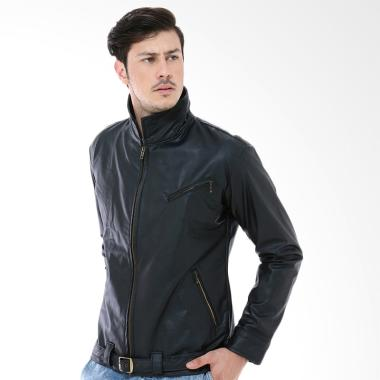 Crows Denim Exclusive Leather Jacket Pria - Hitam