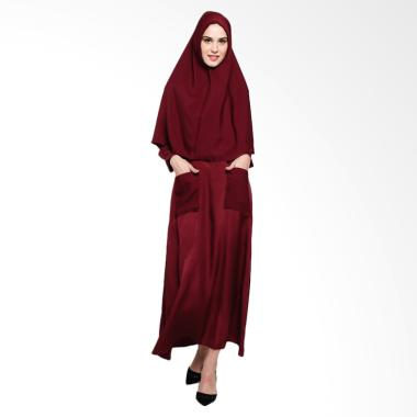 BIG SALE ! Ayda Wolly Set Gamis + Hijab - Maroon