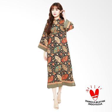Flike Store Qipao Orange Fancy Fan Batik Dress Wantia - Black Floral