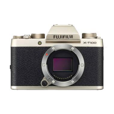 harga Fujifilm X-T100 Body Only Kamera Mirrorless + Fujinon XF 35mm f2 - Gold + Free  Sandisk 16GB + Free SDHC Extreme 32GB by claim Blibli.com