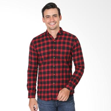 MENTLI Carlos Flannel Shirt Kemeja Pria - Merah