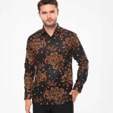 Batik Agrapana Print Adwitiya Lengan Panjang Kemeja Batik Pria - Hitam