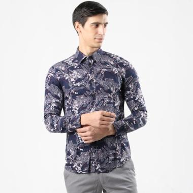 Manzone Sasta 4 Kemeja Batik Lengan Panjang Pria - Navy
