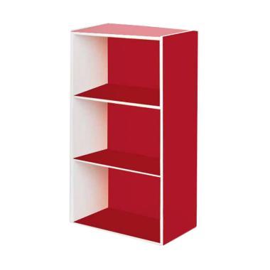 DIJAMIN MURAH - Funika 12054 RD-WH Rak Buku - Merah Putih [3 Tingkat]