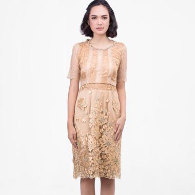 Atelier Mode Cassandra Combination of Lace Dress Wanita - Gold
