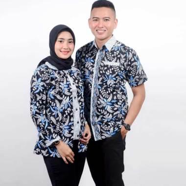King Projo Motif Blarak Biru Baju Batik Couple