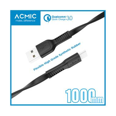 ACMIC FC100 Kabel Data Charger USB Type C 100cm Fast Charging Cable - Hitam