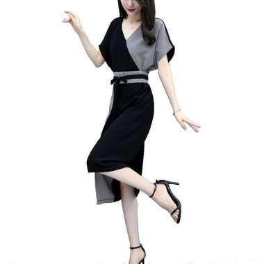 Bluelans Fashion Women Patchwork V Neck Short Sleeve Slim Waist Split Party Midi Dress